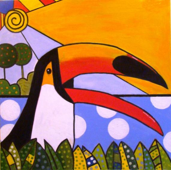 TABLEAU PEINTURE toucan bresil amazonie pop art Animaux Peinture a l'huile  - tucano da amazonia