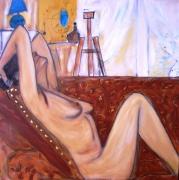 tableau nus femme nue poitrine sofa : PELADA NO SOFA