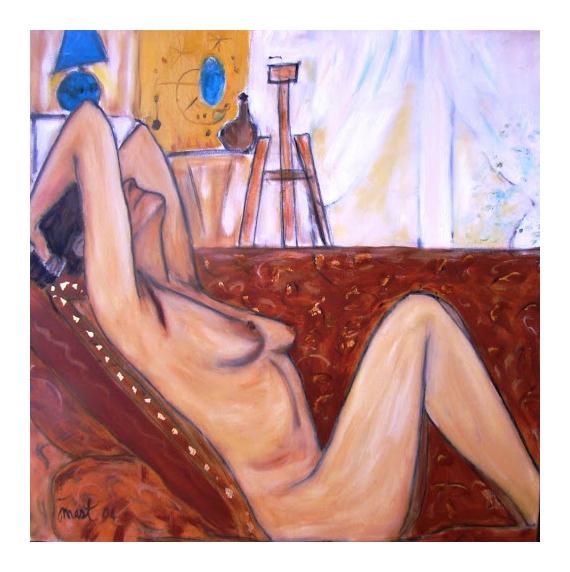 TABLEAU PEINTURE femme nue poitrine sofa Nus Peinture a l'huile  - PELADA NO SOFA
