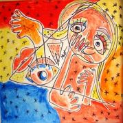 tableau abstrait femme nue abstrait : MULHER
