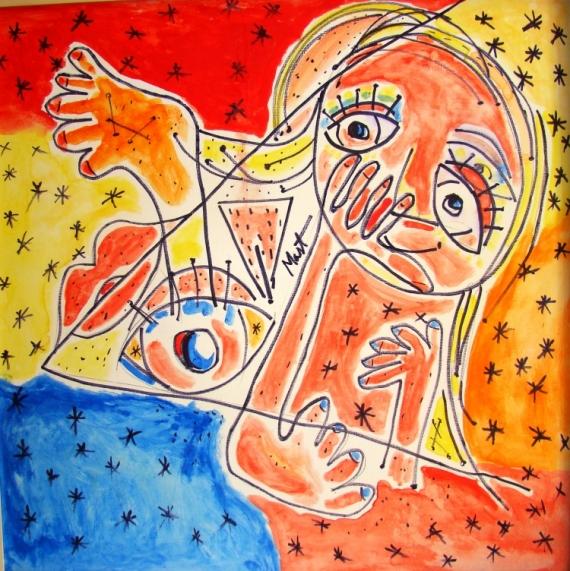 TABLEAU PEINTURE femme nue abstrait Abstrait Acrylique  - MULHER