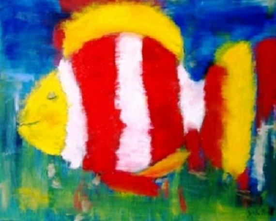 TABLEAU PEINTURE poisson clown heureux Animaux Peinture a l'huile  - Poisson clown heureux