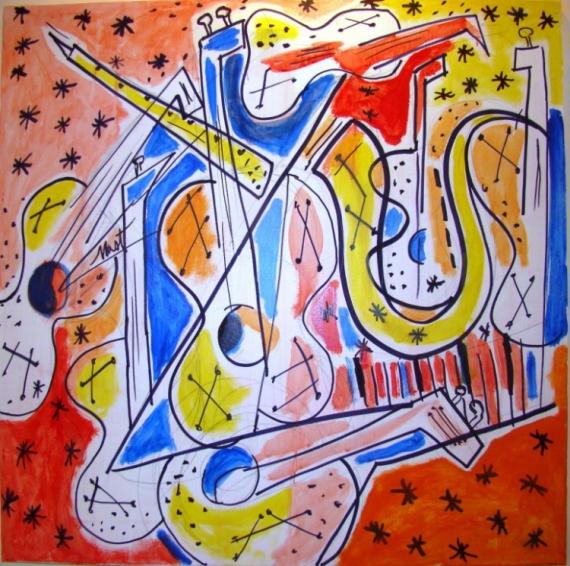 TABLEAU PEINTURE orquestre guitarre saxo Acrylique  - ORQUESTRA
