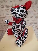 deco design : Ours de décoration en tissu fantaisie rouge, noir & blanc