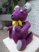 art textile mode animaux ours mexicain ours decoration ours deco decoration interieur : Ours de décoration en tissu MEXICAIN fushia jaune & noir