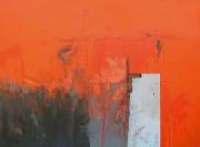 tableau abstrait abstrait marine bateau matiere : L (Orange)