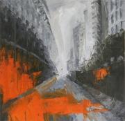tableau architecture ville matiere perpective gris : L'avenue