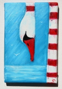 tableau marine mer phare plage bretagne : Cygne