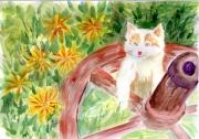 tableau animaux aquarelle chaton chaton : AQUARELLE CHATON EN DECOUVERTE - PAYSAGE CAMPAGNE