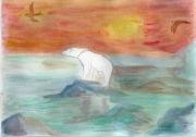 tableau marine ours polaire arctique fonte de la banquise rechauffement climat : AQUARELLE SUR LE THEME DE L'ARCTIQUE