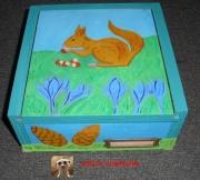 bois marqueterie animaux boite decor ecureuil boite ecureuil ecureuil rigolo comment decorer une : BOITE EN BOIS - BOITE DECORATION- BOITE DECORATION ECUREUIL