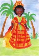 tableau personnages jeune creole palmeraie aquarelle africaine acrylic beautiful an : ACRYLIQUE BELLE ET JEUNE CREOLE DANS UNE PALMERAIE - AFRIQUE