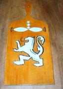 artisanat dart animaux armoirie gravure lion plaque bois lion gravure bois : PLAQUE DE BOIS AVEC GRAVURE D'UN LION STYLE ARMOIRIE
