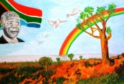 tableau personnages nelson mandela nobel de la paix afrique du sud segregation : ACRYLIQUE HOMMAGE NELSON MANDELA