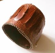 bijoux autruche manchette cuir perles : Bracelet manchette AUTRUCHE