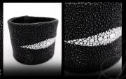 bijoux autres cuir poisson authentique manchette : Bracelet manchette en GALUCHAT noir