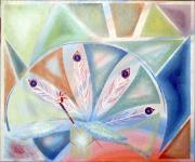 tableau animal expressionisme abstrait couleur : le paon