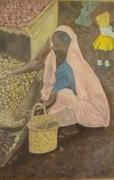 tableau scene de genre : Indienne au marché