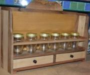 bois marqueterie etagere epices orme frene : Etag