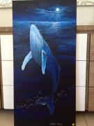 tableau animaux baleine nuit ocean : baiser de la baleine au pêcheur