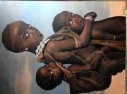 tableau personnages afrique portrait : Orphelins d'afrique