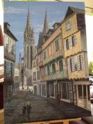 tableau villes ville quimper cathedrale : Rue Quéréon Quimper