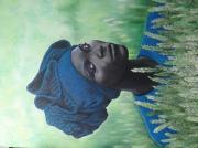 tableau personnages portrait femme afrique : femme africaine