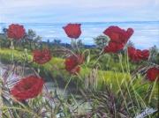 tableau fleurs coquelicots fleurs mer reflets : AU FIL DES COQUELICOTS
