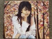 tableau personnages automne jeune fille songe moue : REVERIE D'AUTOMNE