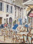 tableau scene de genre terrasse cafe rue lourmarin : EN TERRASSE A LOURMARIN