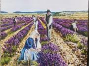 tableau fleurs champs lavande paysage provencal : SENTEURS DE PROVENCE