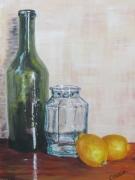 tableau nature morte nature morte flacon verre citron : transparence