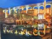 tableau paysages pont nocturne saint jean en royans drome : st jean en royans nocturne