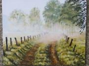tableau paysages brouillard brume sentier chemin : brouillard matinal