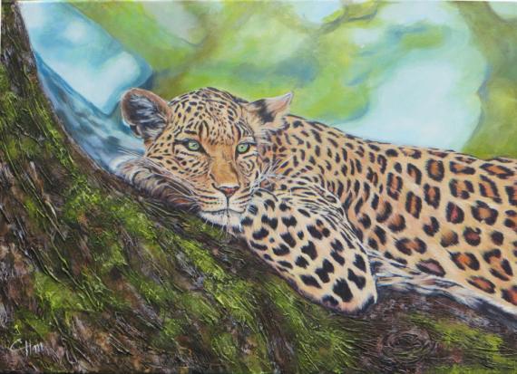 TABLEAU PEINTURE felin panthere leopard jungle Animaux Acrylique  - DOUCEUR FELINE