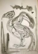 dessin nature morte oiseau aquarelle bird illustration : Skeleton Bird II