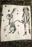 dessin personnages aquarelle enfant jeunesse encre : My friend
