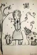 dessin personnages jeunesse aquarelle encre enfant : My girl