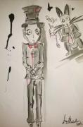 dessin personnages encre aquarelle personnage illustration : Fou,fou