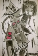 dessin personnages aquarelle personnage encre illustration : My sweet world