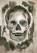 dessin nature morte aquarelle vanite crane illustration : Skull Part II