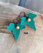 bijoux boucles lierre cuir agate craquelee oran : Boucles cuivrées Lierre cuir Agate craquelée orange