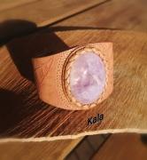 bijoux autres bracelet rigide mystique cuir feuill amethyste : Bracelet rigide Mystique Feuilles cuir Améthyste lavande