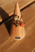 bijoux autres bague ouverte cuivre bronze pierres fines : Bague ouverte bronze Citrine/œil de tigre/Agate jaune et Cornali