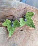 bijoux boucles cuivrees lierre cuir amethyste : Boucles cuivrées Lierre cuir vert pistache Améthyste