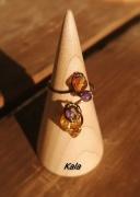 bijoux autres bague ouverte cuivre bronze ambre et amethyste : Bague bronze Ambre/Amethyste