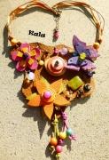 bijoux autres plastron cuir pierres bois : Plastron cuir Fleurs et Papillon,perles pierres