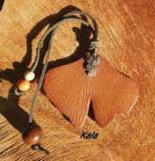 bijoux marque page ginkgo cuir chouette : Marque page cuir Ginkgo chouette
