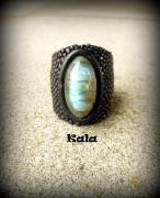 bijoux autres bague cuir de raie noir labradorite : Bague Mystique Labradorite cuir Galuchat