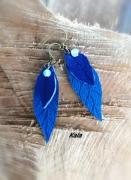 bijoux autres boucles feuilles cuir bleu opalite : boucles feuilles cuir bleu Opalite